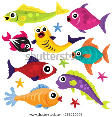 Plenty of fishes in the sea cartoon vector illustration.