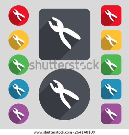 pliers icon sign. A set of 12 colored buttons and a long shadow. Flat design. Vector - stock vector