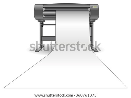 Plotter used in computer aided design (cad) and graphic arts. Inkjet printer with a large format. ploter - stock vector