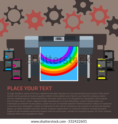 Plotter with format paper and color cartridges on dark brown background. Print technology background with gears. - stock vector