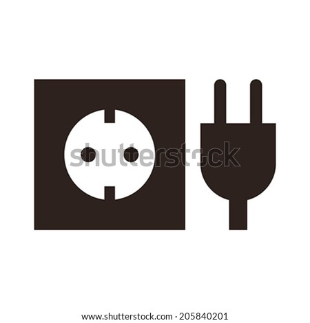 Plug and socket icon isolated on white background - stock vector