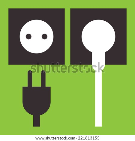 Plug and socket icon on green background  - stock vector