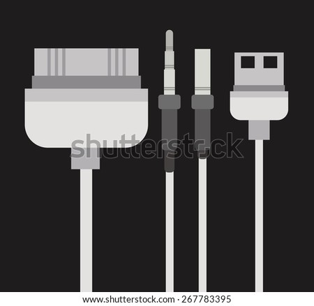 Plug  and Usb design over grey background, vector illustration - stock vector