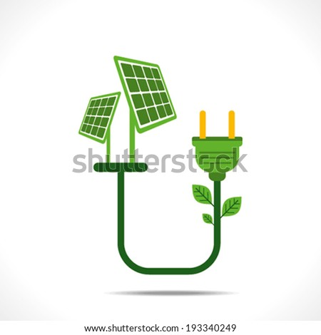 plug connect to solar  panel or green energy concept vector - stock vector