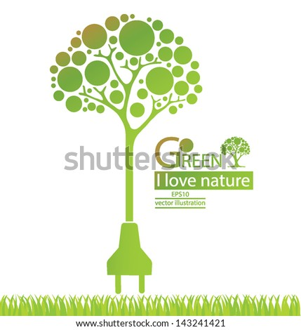 Plug. Green concepts save energy. save world. vector illustration. - stock vector