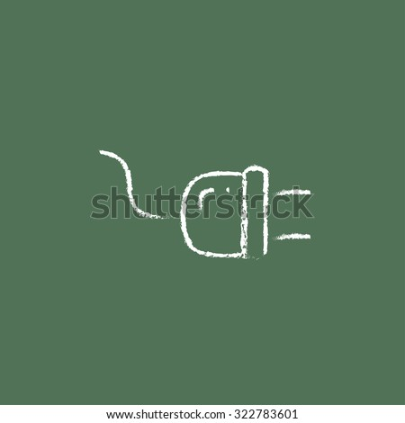 Plug hand drawn in chalk on a blackboard vector white icon isolated on a green background. - stock vector