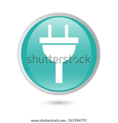 plug icon electricity sign. blue glossy button. - stock vector