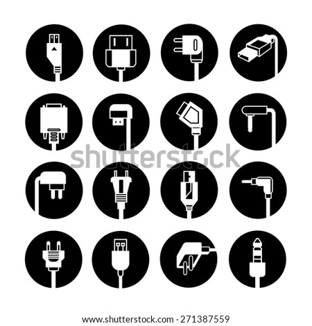 plug icons set, electric outlet illustration buttons - stock vector