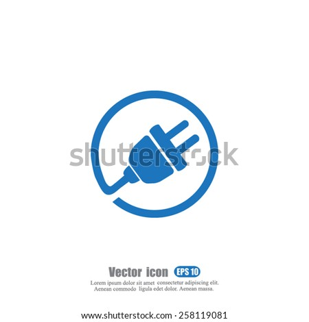 plug in vector icon - stock vector
