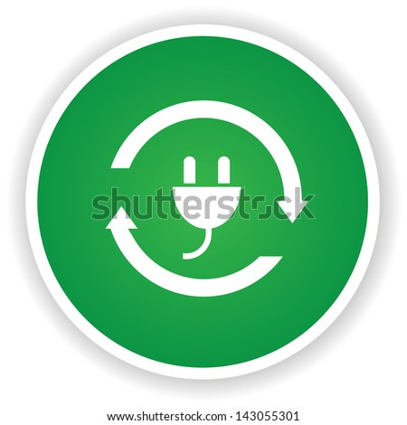 Plug power symbol on green button,vector - stock vector