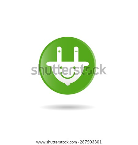 plug smile icon,select electricity for save the world - stock vector