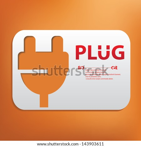 Plug symbol,blank for text,vector - stock vector