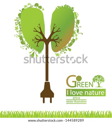 Plug. Tree design. Go green. Save world. vector illustration. - stock vector