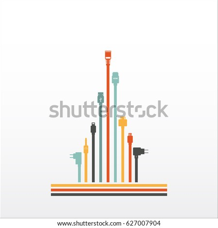Plug Wire Cable Computer Colorful Abstract Stock Vector 627007904 ...