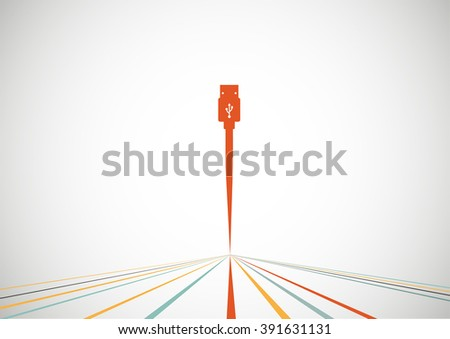 Plug Wire Cable USB Computer  colorful  vector illustration - stock vector