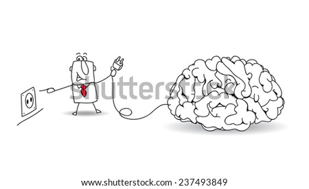 Plug your brain. Joe, the businessman plugs a brain. It's a metaphor about to find ideas and about reflexion - stock vector