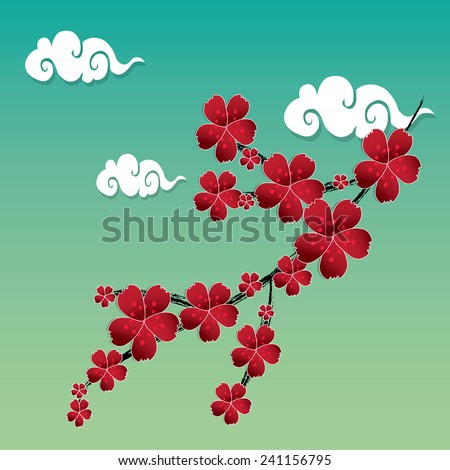 Plum blossom in spring. Oriental style - stock vector