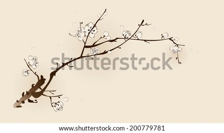 Plum blossom with line design - stock vector