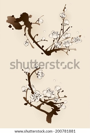 Plum blossom with line design in two different compositions - stock vector
