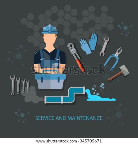 Plumber and plumbing tools - stock vector