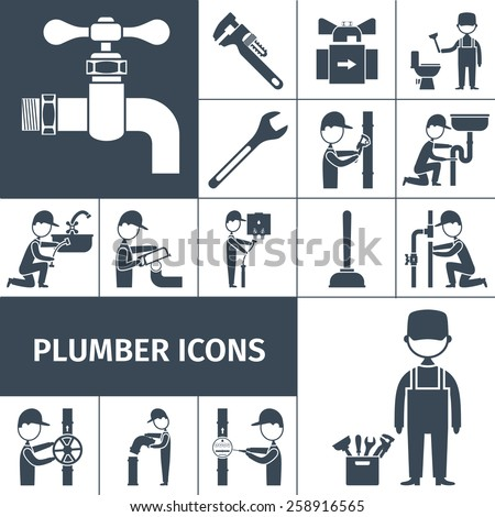 Plumber decorative icons black set with bath shower and water pipeline equipment isolated vector illustration - stock vector