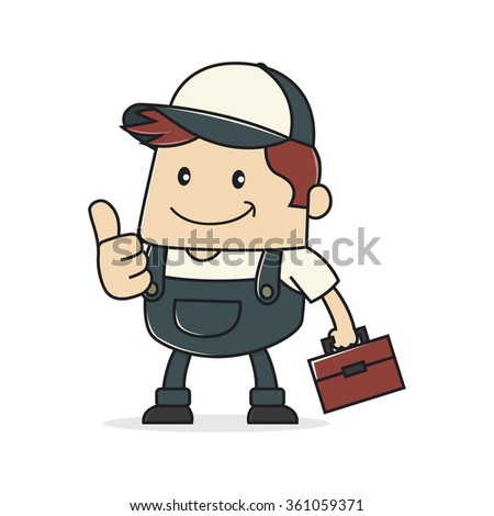 Plumber giving thumb up - stock vector