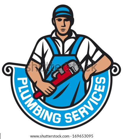 plumber holding a wrench - plumbing services (plumber holding monkey wrench, plumber worker, repair plumbing label)  - stock vector