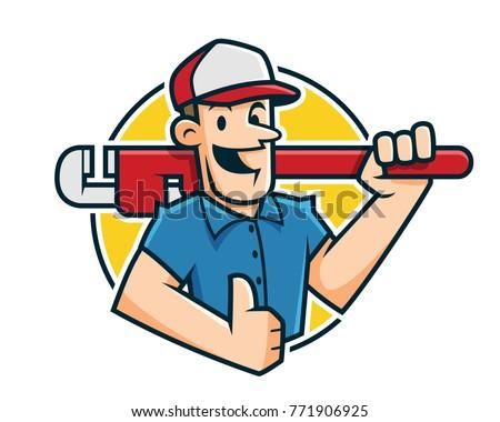Plumber mascot, plumber character, worker cartoon