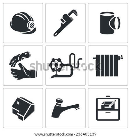 Plumber profession Vector Icons Set - stock vector