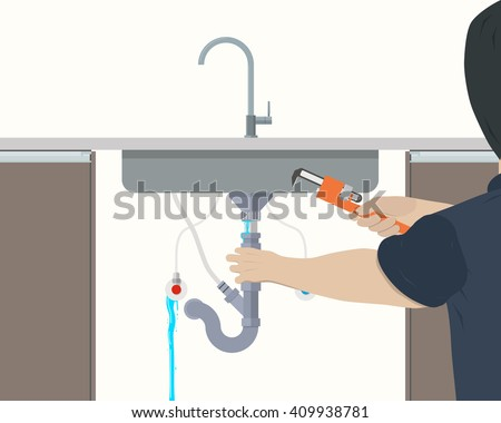 Plumber repairing leaking pipe under the kitchen sink. Vector illustration - stock vector