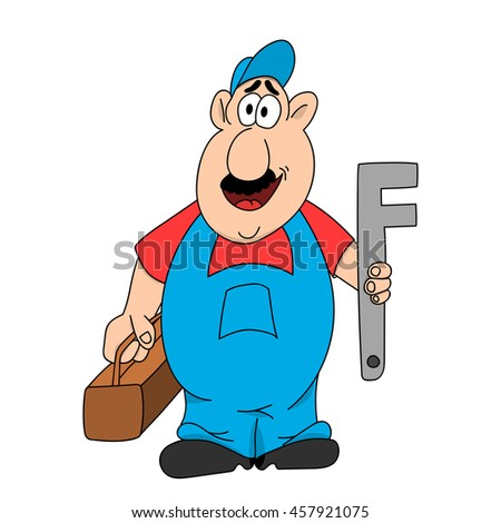 Plumber standing he is holding in his hands the key and set the tool