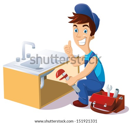 plumber to work under a sink with his tool bag - stock vector