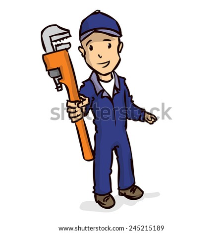 Plumber with a large adjustable spanner. Hand drawn vector cartoon illustration. Isolated on white. - stock vector