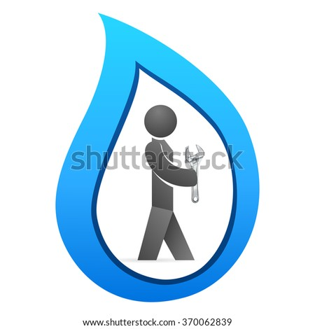 plumber with adjustable wrench and water drop - stock vector