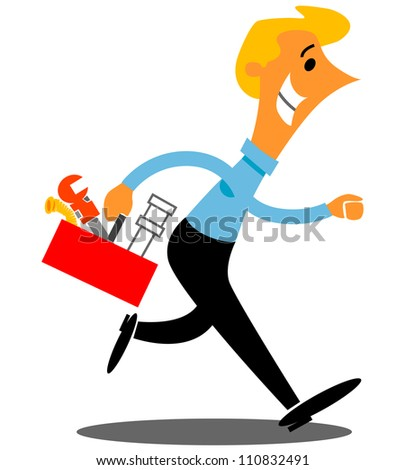 Plumber with tools rushing to a repair job - stock vector