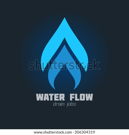Plumbing Business vector icon. Plumbing or gas supply service sign. Brand visualization template. Vector graphics for water, flow, drops, hot & cold water, gas flames. Typography proposal. Editable. - stock vector