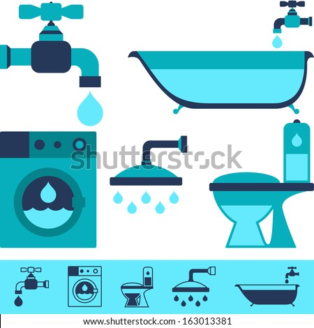 Plumbing equipment icons in flat design style. - stock vector