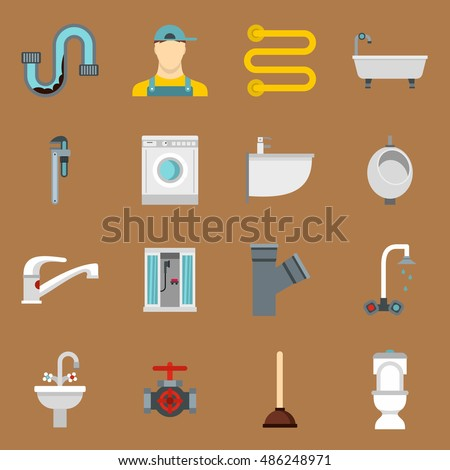 Plumbing icons set in flat style on a sandy brown background. Sanitary equipment set collection vector illustration