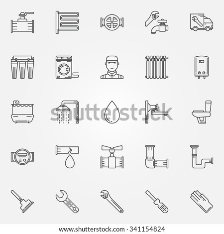 Plumbing icons set thin line sanitary stock vector for Bathroom accessories names with pictures