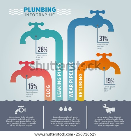 Plumbing infographic set with faucets and tube fixture symbols vector illustration - stock vector