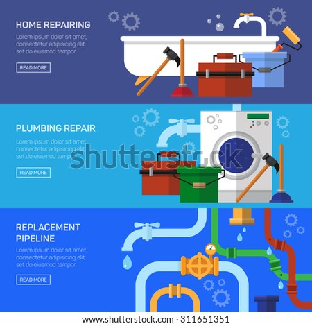 Plumbing repair fix the clog pipeline horizontal banner set isolated vector illustration - stock vector