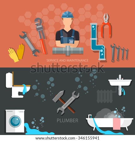 Plumbing repair service professional plumber different tools and accessories banners - stock vector