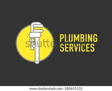Plumbing repair wrench line flat icon. Logo concept for plumbers - stock vector