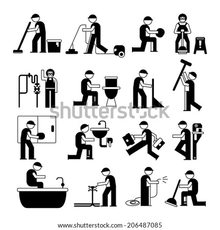 plumbing service and cleaner worker icons - stock vector
