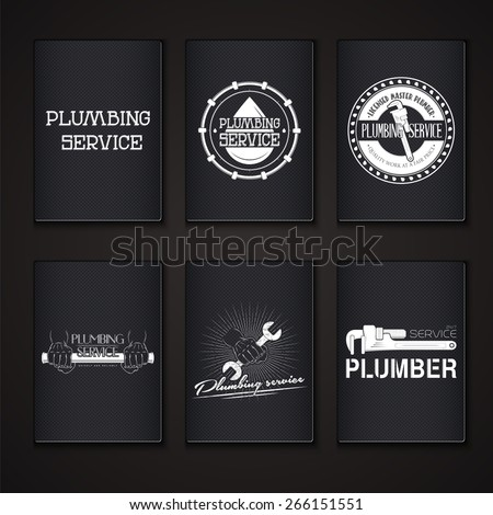 Plumbing service. Home repairs. Repair and maintenance of buildings. Grunge Effect. Set of Typographic Badges. Flat vector illustration - stock vector