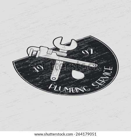Plumbing service. Home repairs. Repair and maintenance of buildings. Set of Typographic Badges Design Elements, Designers Toolkit. Flat vector illustration - stock vector