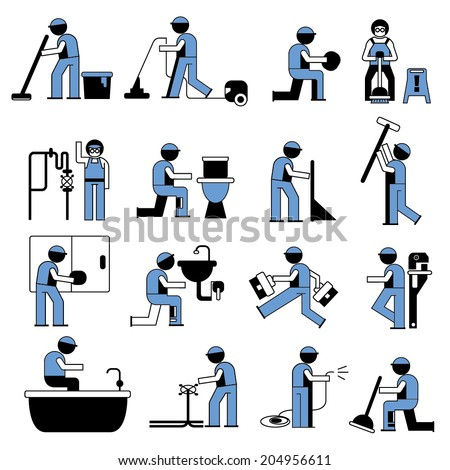 plumbing service icons, cleaner worker icons set - stock vector