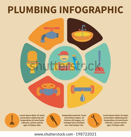 Plumbing service infographic icons set pith pie chart vector illustration - stock vector