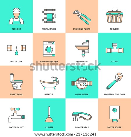 Plumbing service water fixtures icons flat line set isolated vector illustration - stock vector