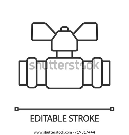 Plumbing Valve Linear Icon Thin Line Stock Vector 719317444